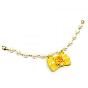 帯リボンとパールの羽織紐(ブレスレット)黄1