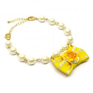 帯リボンとパールの羽織紐(ブレスレット)黄2