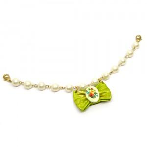 帯リボンとパールの羽織紐(ブレスレット)緑1