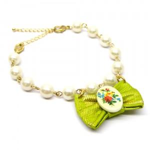 帯リボンとパールの羽織紐(ブレスレット)緑2