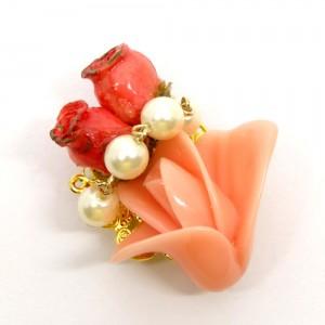 薔薇の帯留ピンク1