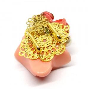 薔薇の帯留ピンク2