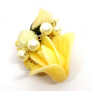 薔薇の帯留黄色1