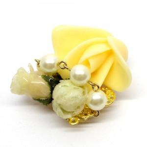薔薇の帯留黄色2