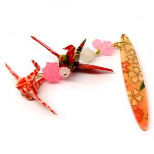 折鶴と金平糖の帯飾り桃1