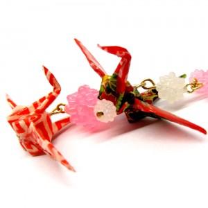 折鶴と金平糖の帯飾り桃2