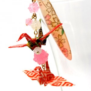 折鶴と金平糖の帯飾り桃3