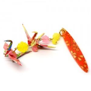 折鶴と金平糖の帯飾り黄1