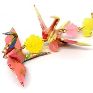 折鶴と金平糖の帯飾り黄2