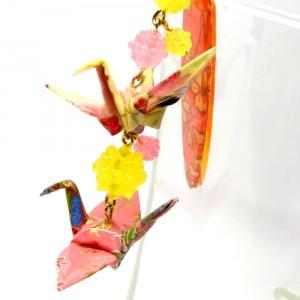 折鶴と金平糖の帯飾り黄3
