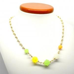 金平糖とパールのネックレス緑黄1