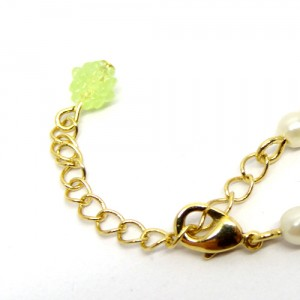 金平糖とパールのネックレス緑黄3