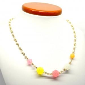金平糖とパールのネックレスピンク黄1