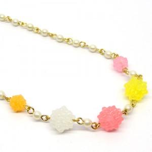 金平糖とパールのネックレスピンク黄2