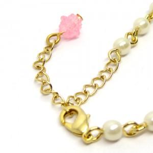 金平糖とパールのネックレスピンク黄3