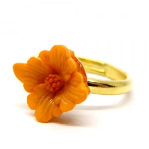 お花の指輪橙