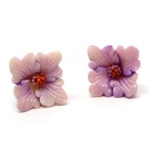 小さなお花のピアス紫