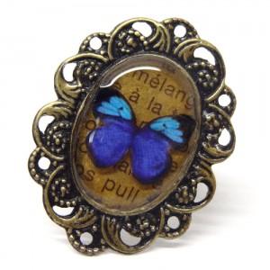 レトロな蝶のリング碧い蝶1