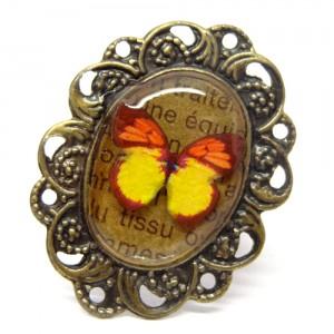 レトロな蝶のリング黄い蝶1