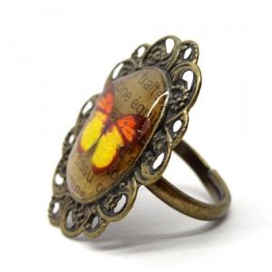 レトロな蝶のリング黄い蝶2