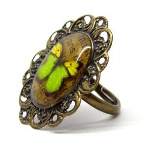 レトロな蝶のリング翠い蝶2