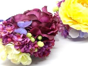 初夏の花と蝶の髪飾り2