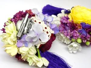 初夏の花と蝶の髪飾り3