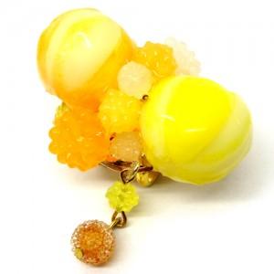 飴玉と金平糖の帯留黄